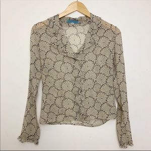 Johny Was Silk Ruffle sheer Top Blouse Floral